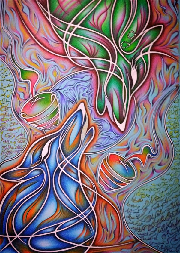 هنر نقاشی و گرافیک محفل نقاشی و گرافیک اشکان دژپرور عنوان: آدم شیشه ای، حوای هنرمند این ابعاد، اندازه ی بدون قاب است. مدادرنگی روی مقوای رنگی
