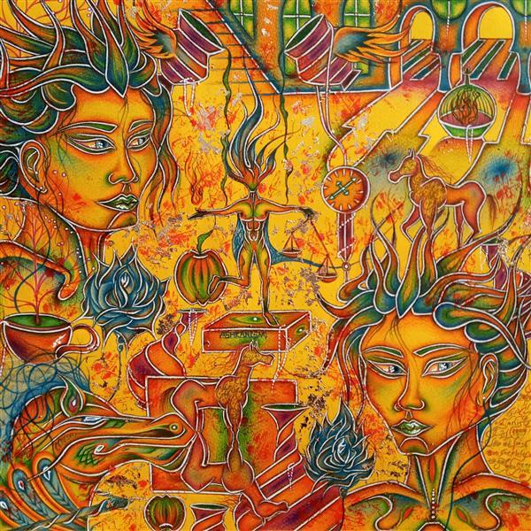 هنر نقاشی و گرافیک محفل نقاشی و گرافیک اشکان دژپرور عنوان: یک قدم مانده به ابدیت طلایی/ مدادرنگی، راپید، ورق طلا و رنگ روغن روی مقوا/ این ابعاد بدون احتساب قاب در نظر گرفته شده است./ ۱۳۹۹