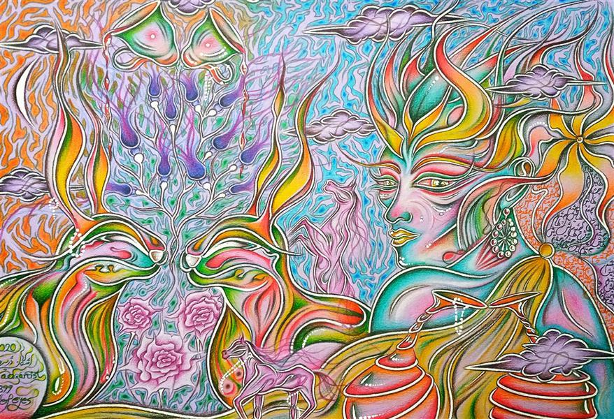 هنر نقاشی و گرافیک محفل نقاشی و گرافیک اشکان دژپرور عنوان: چشم هایش ابعاد این اثر، بدون قاب حساب شده است. مدادرنگی روی مقوای رنگی