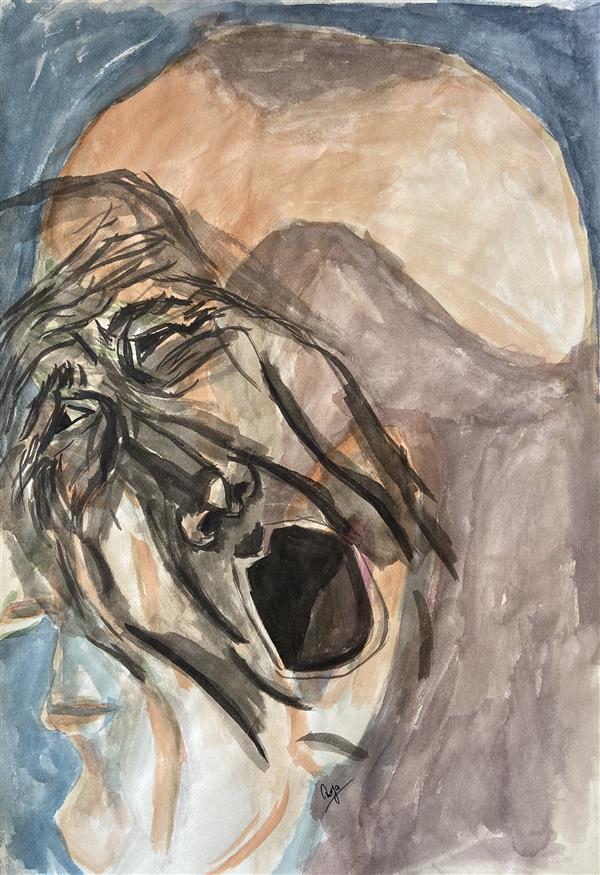 هنر نقاشی و گرافیک محفل نقاشی و گرافیک رویا فرخی صدقیانی آبرنگ و مرکب، زمستان ۹۸، نام: ژرفای درون، رویا فرخی