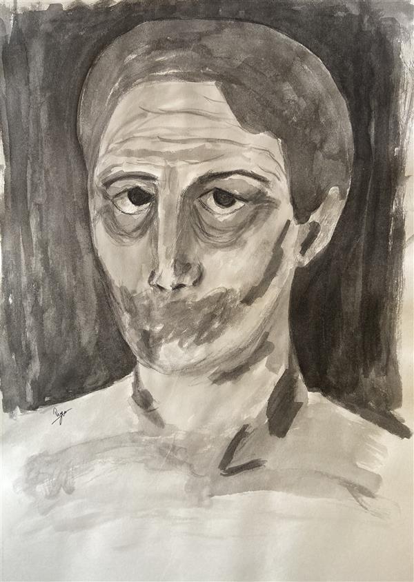 هنر نقاشی و گرافیک محفل نقاشی و گرافیک رویا فرخی صدقیانی مرکب، زمستان ۹۸، نام:محکوم به سکوت ،رویا فرخی