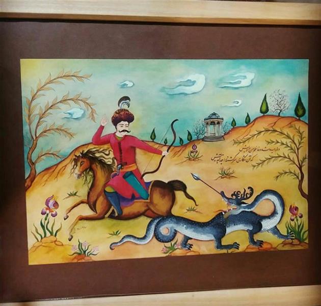 هنر نقاشی و گرافیک محفل نقاشی و گرافیک الهام جمشیدپور اثر نگارگری زیبا ترکیب سبک مدرن و سنتی
