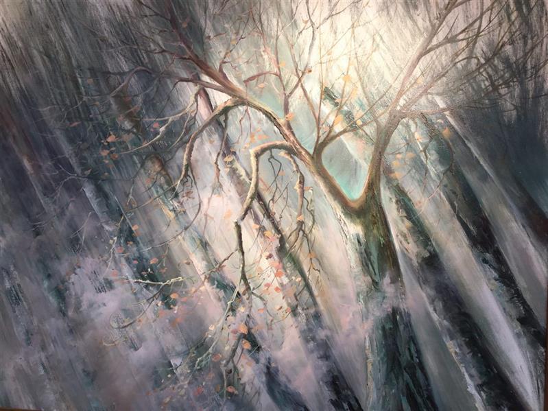 هنر نقاشی و گرافیک محفل نقاشی و گرافیک دلارام قائمی تا بینهایت از مجموعه نوستالژی درختان مه گرفته  ٧٠*١٠٠ رنگ روغن روی بوم