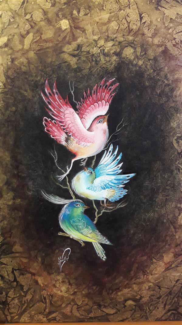 هنر نقاشی و گرافیک محفل نقاشی و گرافیک لیدا اصغریان پرنده# گل و مرغ                                             ابعاد ۵۰×۶۰