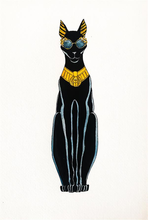 هنر نقاشی و گرافیک محفل نقاشی و گرافیک کسری افتخاری Alta moda in Egypt  عینک کالکشن برند دولچه و گابانا بر صورت مجسمه گربه مصر باستان #آبرنگ روی #مقوا سایز A4