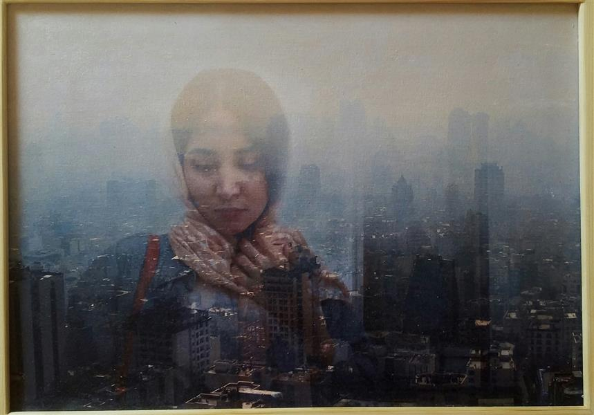 """هنر نقاشی و گرافیک محفل نقاشی و گرافیک عصمت واحدی بدون عنوان؛ از مجموعه """"شهر درون"""" میکس مدیا روی بوم ۲۵×۳۵ سانتیمتر"""