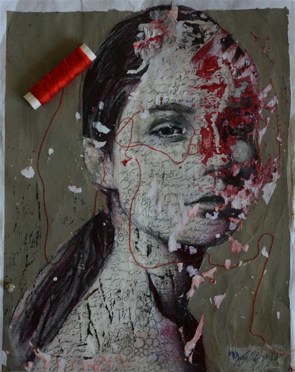 هنر نقاشی و گرافیک محفل نقاشی و گرافیک نرگس پاکمنش ترکیب مواد روی کاغذ 30.42 با پاسپارتو و قاب