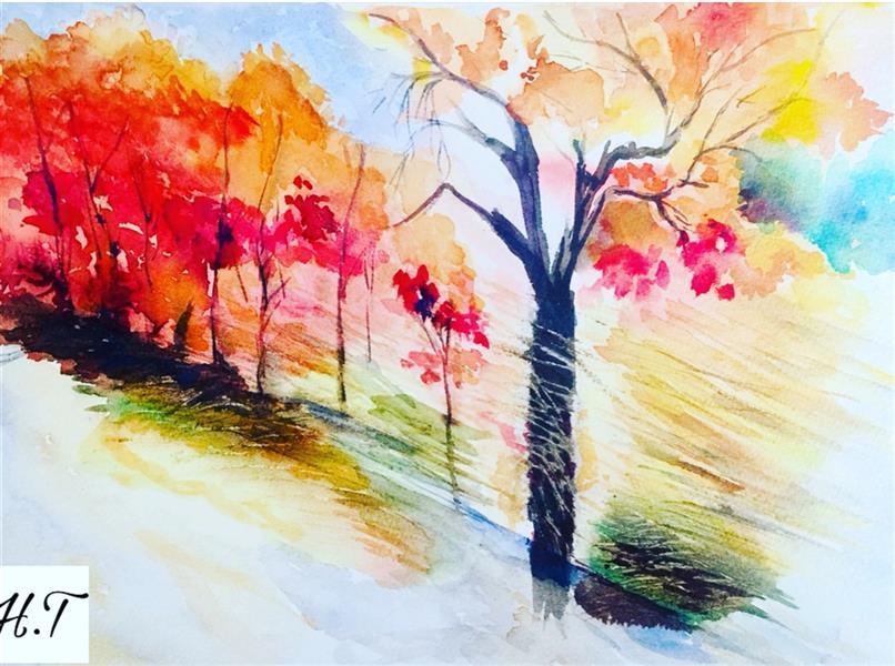 هنر نقاشی و گرافیک محفل نقاشی و گرافیک هدیه توکلیان #تابلوی ۴فصل#پاییز#آبرنگ