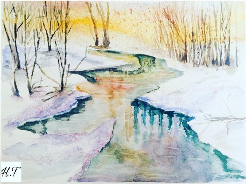 هنر نقاشی و گرافیک محفل نقاشی و گرافیک هدیه توکلیان #تابلوی ۴فصل#زمستان#آبرنگ