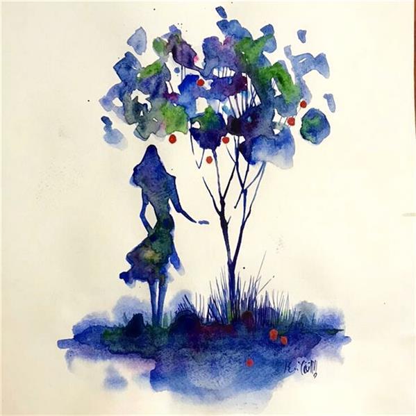 هنر نقاشی و گرافیک محفل نقاشی و گرافیک علی سپهرافغان آبرنگ روی مقوا. محمد علی سپهر