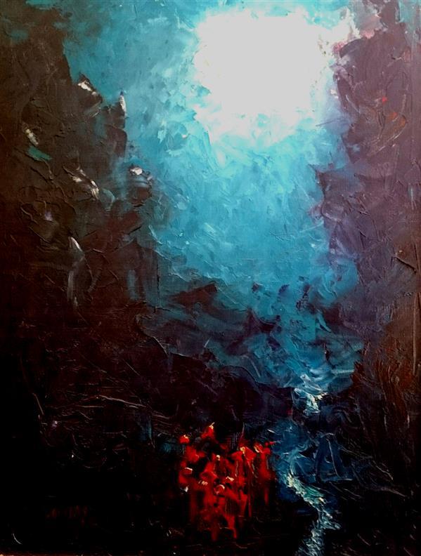 هنر نقاشی و گرافیک محفل نقاشی و گرافیک علی سپهرافغان رنگ و روغن روی بوم. محمد علی سپهر افغان . مراسم مهتاب با زه چوبی
