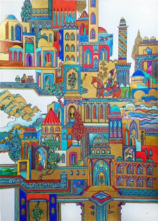 هنر نقاشی و گرافیک محفل نقاشی و گرافیک علی سپهرافغان ترکیب مواد . نگارگری مدرن . نام اثر مینو محمد علی سپهر افغان