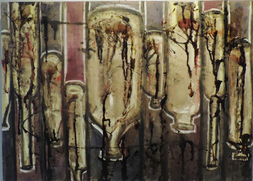 هنر نقاشی و گرافیک محفل نقاشی و گرافیک مریم احمدزاده از مجموعه تالار آبگینه...طبیعت بی جان....اجرا روی چوب....ترکیب مواد....50*70