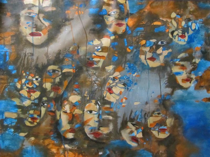 هنر نقاشی و گرافیک محفل نقاشی و گرافیک لیلا بهرامی #نقاشی#فروش#سفارش نام اثر : صورتکها اندازه : ۷۰ × ۱۰۰ سبک : اکسپرسیونیسم انتزاعی  تکنیک : اکرولیک روی بوم #اورجینال با قاب