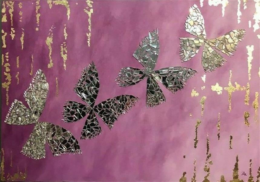 هنر نقاشی و گرافیک محفل نقاشی و گرافیک مهتا معتمدی راد نام هنرمند= مهتا معتمدی راد Mahta Motamedi Rad عنوان اثر= پرواز #پروانه ابعاد= بوم 70x100 تکنیک=رنگ روغن، #ورق_طلا و آینه