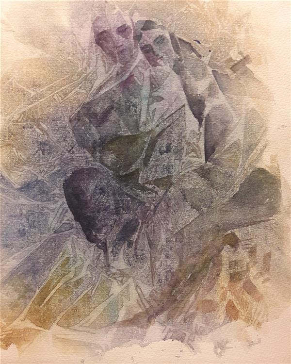 هنر نقاشی و گرافیک محفل نقاشی و گرافیک فریده هوشنگ پور نام اثر عشق تکنیک آبرنگ روی کاغذ فابریانو سایز ۲۵ در ۳۵  هنرمند .فریده هوشنگ پور