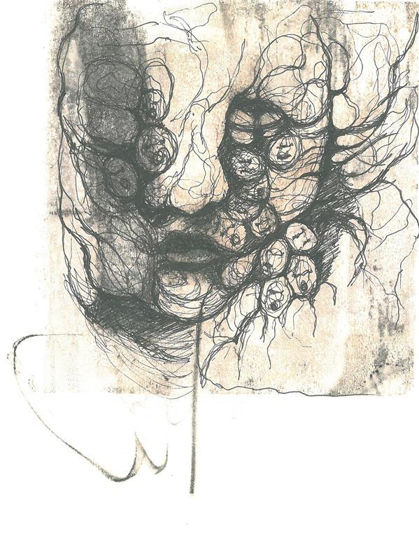 هنر نقاشی و گرافیک محفل نقاشی و گرافیک نگار روشن #درد #سایز 15.20#تکنیک تلفیقی#همراه با قاب