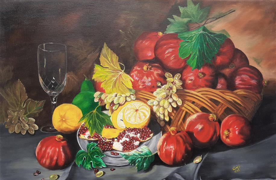 هنر نقاشی و گرافیک محفل نقاشی و گرافیک زینت محمدی تابلو رنگ روغن طرح سبد میوه سایز ۵۰ در ۷۰