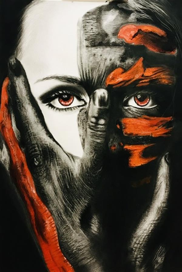 هنر نقاشی و گرافیک محفل نقاشی و گرافیک طاهره صابری ۲۰ در ۳۰ #کنته و ذغال #گواش چشمهایش طاهره صابری