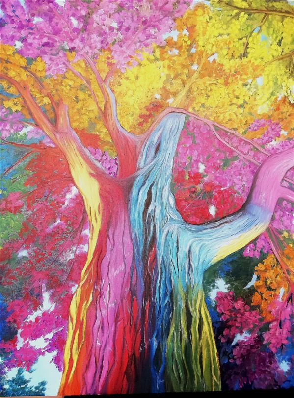 هنر نقاشی و گرافیک محفل نقاشی و گرافیک فاطمه باغبانی  نام اثر درخت نورانی خالق اثر فاطمه باغبانی (مرضیه) تکنیک رنگ و روغن ابعاد 80 ×70