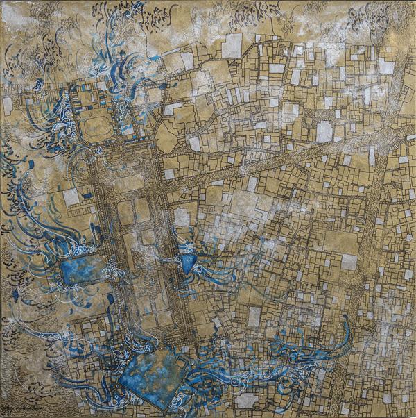 """هنر نقاشی و گرافیک محفل نقاشی و گرافیک Saghar moshiri نام اثر : اصفهان (میدان نقش جهان) از مجموعه (خیابان،) هنرمند : ساغر مشیری امین سال : ۱۴۰۰ توضیحات اثر : در تمامى شهرهاى دنيا، اماكن و خيابان هايى هستند  كه موجب اعتبار آن شهر شده و ارزش باستان شناسى و تاريخى و هنرى دارند.   اما فارغ از نگاه معمارى و گذر از اين ميراث ملموس و با پرداختن به موضوع """" انسان و محيط"""" تماميت شهر، داراى ارزش مى شود.     آنجا كه تمامى اتفاقات تلخ و شيرين، اولين و آخرين نگاه ها، قرار ها و ديدار ها در سال ها و فصل هاى بى شمار، تبديل به خاطراتى شده اند كه در تصرف حافظه ى كوچه ها و خيابان ها مانده اند.   """"ساغر مشيرى امين"""" هنرمندى است كه در اين مجموعه آثارش به روابط انسانى مى پردازد و با انتخاب اشعار حافظ كه با خطوطى مبهم بر روى نقشه هايى از شهرهاى ايران و جهان نوشته شده اند، تفال به كوچه هايى زده است كه راوى غم و شادى انسان ها هستند.   نگاه او در آثارش، دعوتى است هميشگى به تامل و  جستجوى خاطرات و يافتن تكه هاى گمشده خود و هم نوعانمان در عبور از كوچه ها و خيابان ها..."""