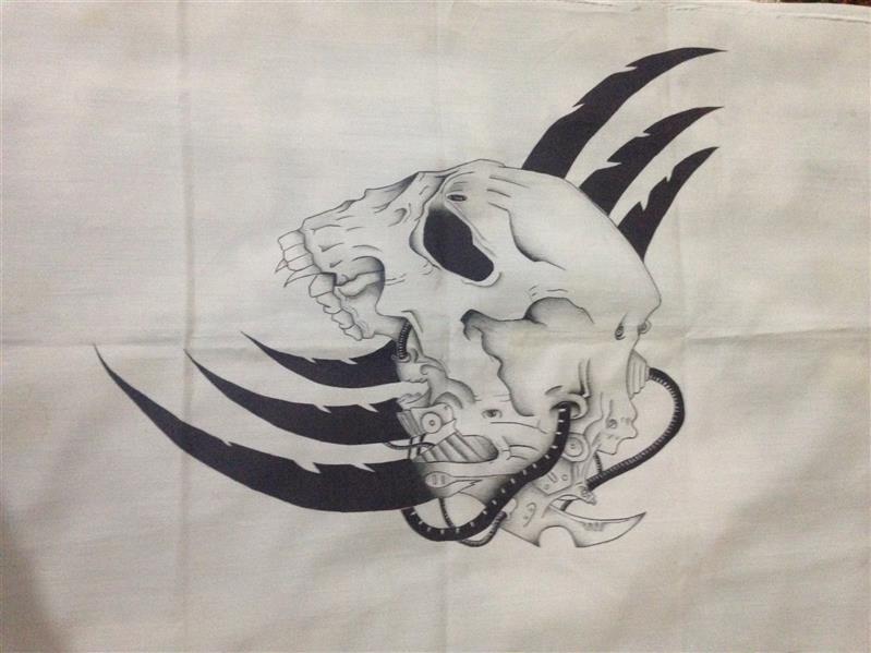 هنر نقاشی و گرافیک محفل نقاشی و گرافیک هاتف حیدری نقاشی باخودکار وقلم سیاه روی پارچه بدون قاب