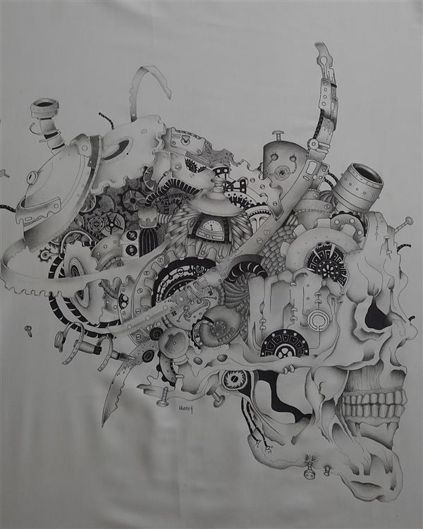 هنر نقاشی و گرافیک محفل نقاشی و گرافیک هاتف حیدری نقاشی ترکیب سیاه قلم و خودکار روی پارچه ابعاد ۹۰×۹۰