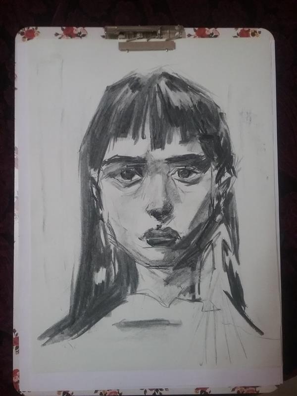 هنر نقاشی و گرافیک محفل نقاشی و گرافیک یکتا قربانی دختر • طراحی چهره / ذغال روی کاغذ قطع a3 #طراحی #چهره #پرتره #ذغال