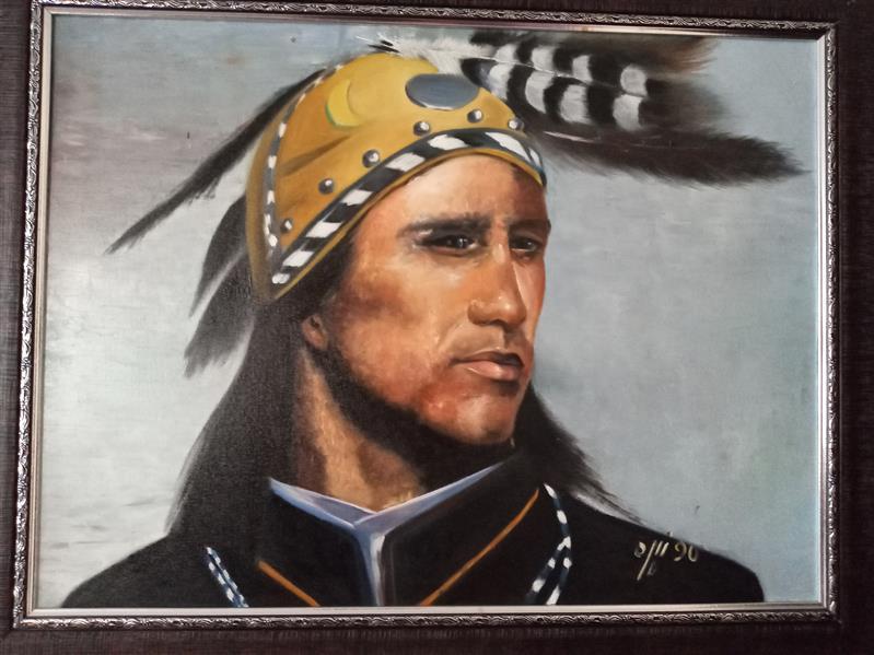 هنر نقاشی و گرافیک محفل نقاشی و گرافیک زهره شجاعیان فر  رنگ روغن #۶۰در۸۰# سرخ پوست