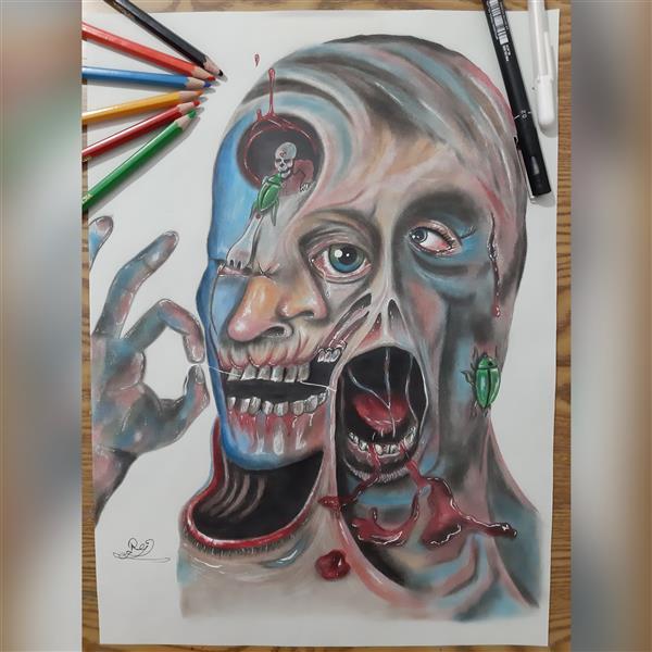 هنر نقاشی و گرافیک محفل نقاشی و گرافیک Rojina amini نقاشی مفهومی در سبک سوررئالیسم تکنیک مداد رنگی و پاستل در ابعاد a3 اثر هنرمند روژینا امینی