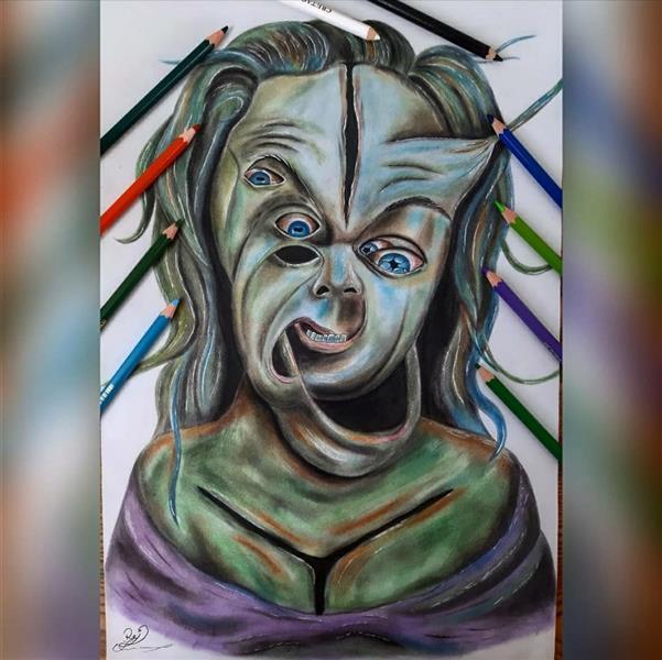 هنر نقاشی و گرافیک محفل نقاشی و گرافیک Rojina amini اثر سوررئال تخیلی و ذهنی، با تکنیک پاستل و مداد رنگی در اندازهی a3