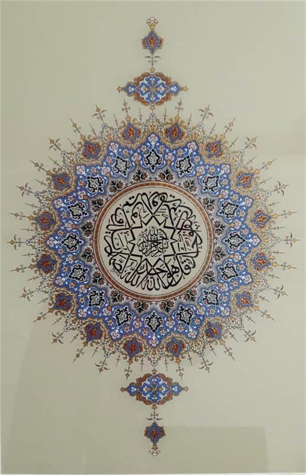 هنر نقاشی و گرافیک محفل نقاشی و گرافیک فاطمه کهلویی #تذهیب #نقاشی_پشت_شیشه اثر فاطمه کهلویی تکنیک ترام و رنگ روغن ابعاد 40*60 .