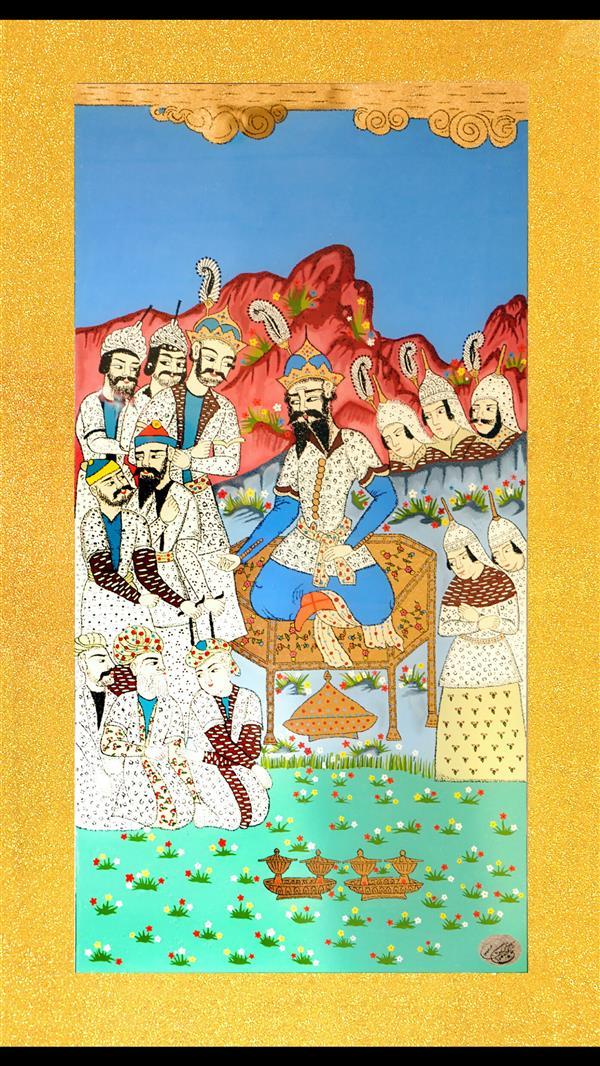 هنر نقاشی و گرافیک محفل نقاشی و گرافیک فاطمه کهلویی #شاهنامه خطی متعلق به عهد تیموری که در بخش آثار نفیس کتابخانه ملی نگهداری میشود دارای 18 عدد تصویر است که به صورت مجموعه بازسازی شده و به صورت #نقاشی_پشت_شیشه در ابعاد 40*70 احیا شده. در این مجموعه از تکنیک #رنگ_روغن و #ترام استفاده شده