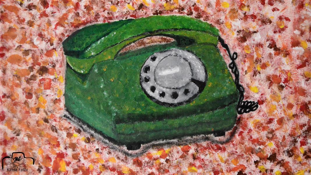 هنر نقاشی و گرافیک محفل نقاشی و گرافیک Kimifathi روزای اول که تلفن اومده بود خونه هامون تا زنگ میخورد ۱۶نفر رو تلفن بودن ولی بیچاره الان تلفنمون باید بسوزه تا یکی برش داره ! #نوستالژی ♡رنگ روغن♡  بوم: ۳۰*۴۰