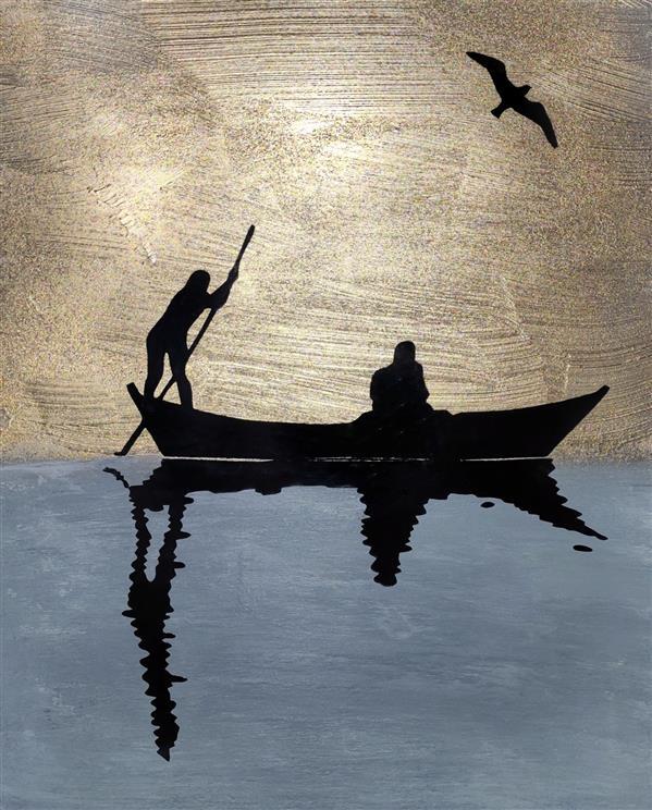 هنر نقاشی و گرافیک محفل نقاشی و گرافیک زهرا  نقاشی با #ورق_طلا و اکرلیک روی چوب و کاغذ 25*30