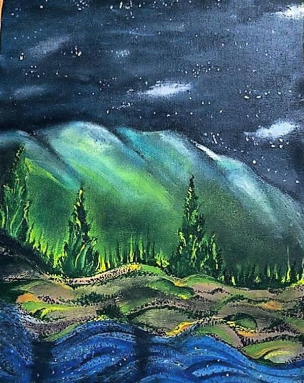 هنر نقاشی و گرافیک محفل نقاشی و گرافیک مهرناز خواجوی #رنگ_روغن دنیای تاریک من ابعاد ۳۵.۴۵ مهرناز خواجوی