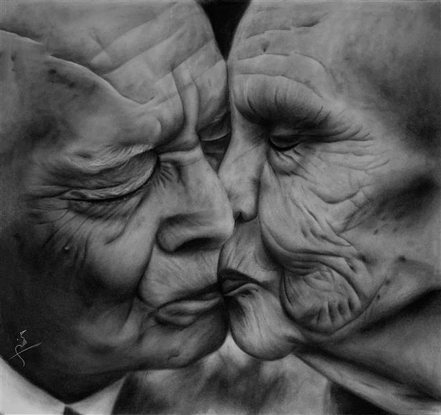 هنر نقاشی و گرافیک محفل نقاشی و گرافیک حسین شفیعی ابعاد ۶۰*۷۵ نام اثر: بوسه #سیاه_قلم