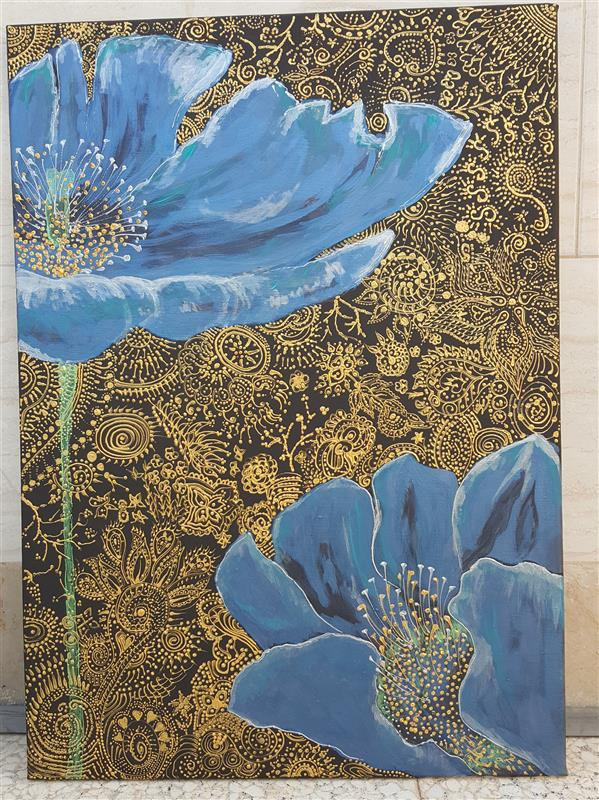 هنر نقاشی و گرافیک محفل نقاشی و گرافیک ازاده محمدنیا ۵۰ در ۷۰ بوم آکریلیک و لاینر گل آبی