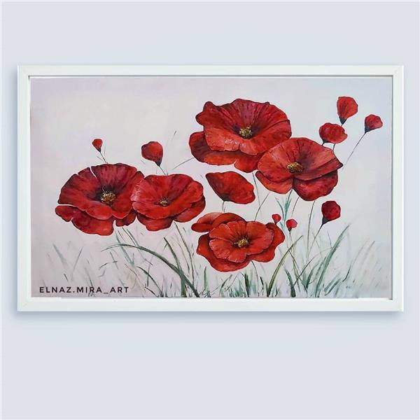 هنر نقاشی و گرافیک محفل نقاشی و گرافیک Elnaz Mirjamali #flower #oilpainting ابعاد 60*90 شقایق