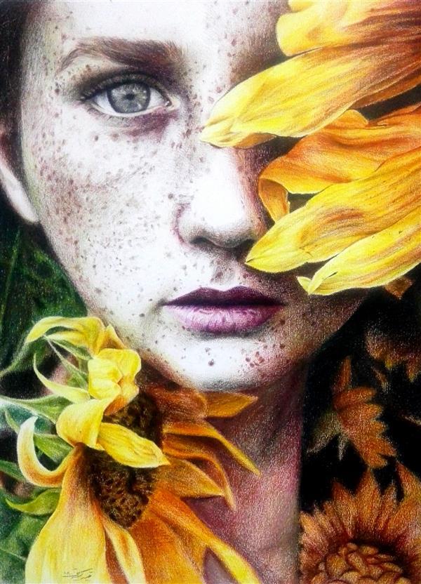هنر نقاشی و گرافیک محفل نقاشی و گرافیک نفیسه کبریتی کرمانی دختر و آفتاب گردان_#مدادرنگی_۳۵*۵۰