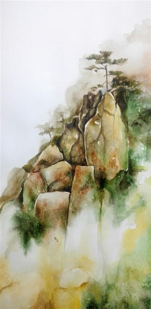 هنر نقاشی و گرافیک محفل نقاشی و گرافیک نفیسه کبریتی کرمانی کوه سنگی_#آبرنگ_۲۲*۴۸