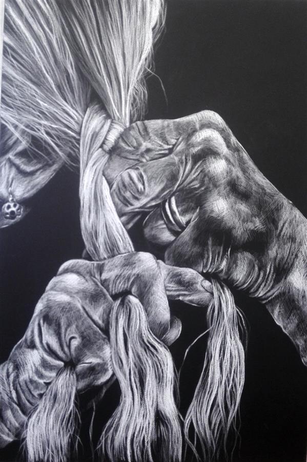 هنر نقاشی و گرافیک محفل نقاشی و گرافیک نفیسه کبریتی کرمانی پیرزن_ #پاستل-گچی _۱۰۰*۷۰_قاب دارد