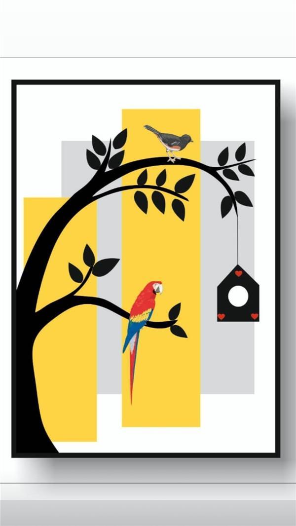 هنر نقاشی و گرافیک محفل نقاشی و گرافیک فاطمه غلامی قیمت تکی تابلو با قاب پی وی سی  و چاپ ابریشمی سیلک در سایز a4