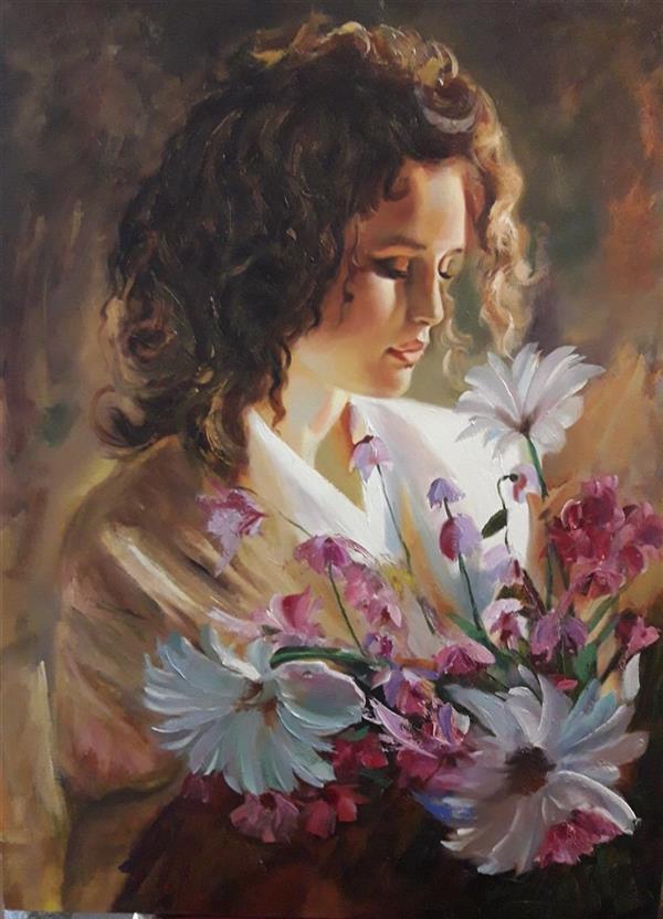 هنر نقاشی و گرافیک محفل نقاشی و گرافیک مریم حسنلو ۸۰*۶۰ #زیبا#گل#دختر رویایی