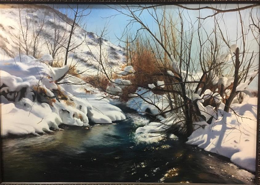 هنر نقاشی و گرافیک محفل نقاشی و گرافیک مریم حسنلو #برف#زیبا#زمستان 1*70