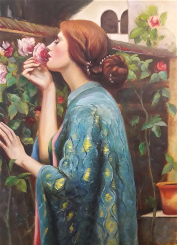 هنر نقاشی و گرافیک محفل نقاشی و گرافیک مریم حسنلو #دختر در باغ#رویایی ۶۰*۸۰