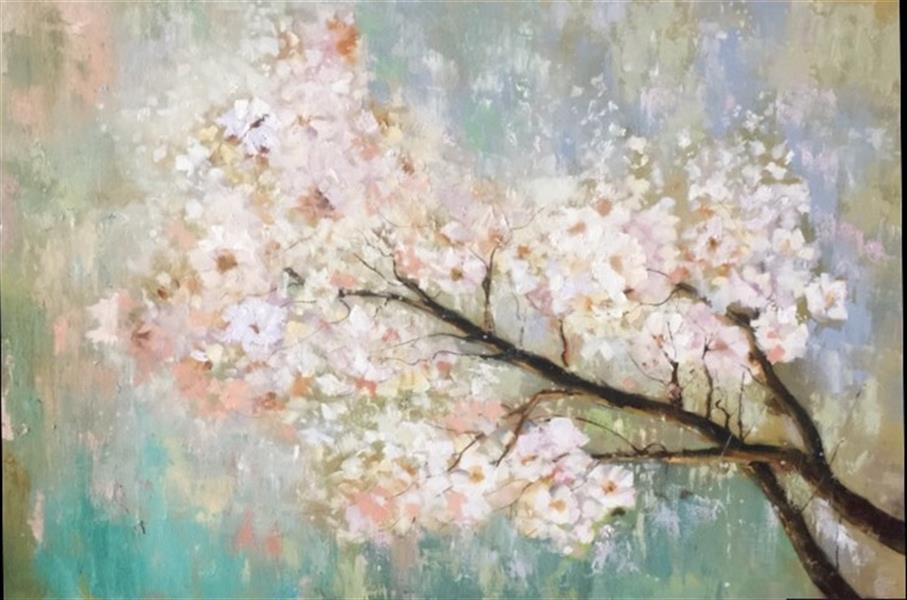 هنر نقاشی و گرافیک محفل نقاشی و گرافیک مریم حسنلو #بهار#شکوفه#برجسته امتر در ۷۰