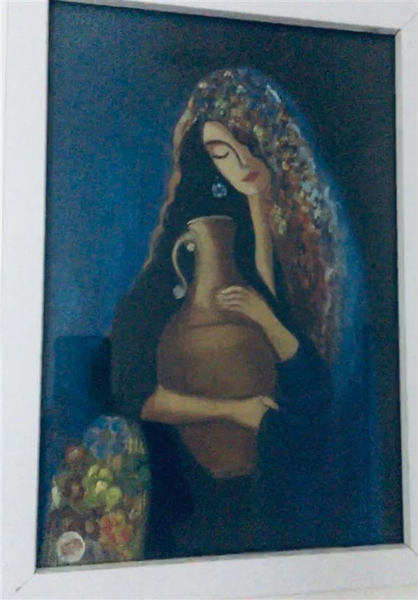 هنر نقاشی و گرافیک محفل نقاشی و گرافیک مریم حسنلو #مادر#رنگ و روغن#عشق#گل ۳۰*۴۰