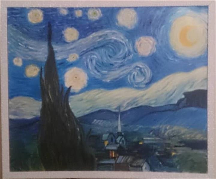 هنر نقاشی و گرافیک محفل نقاشی و گرافیک مریم حسنلو #شب پر ستاره ۵۰*۷۰