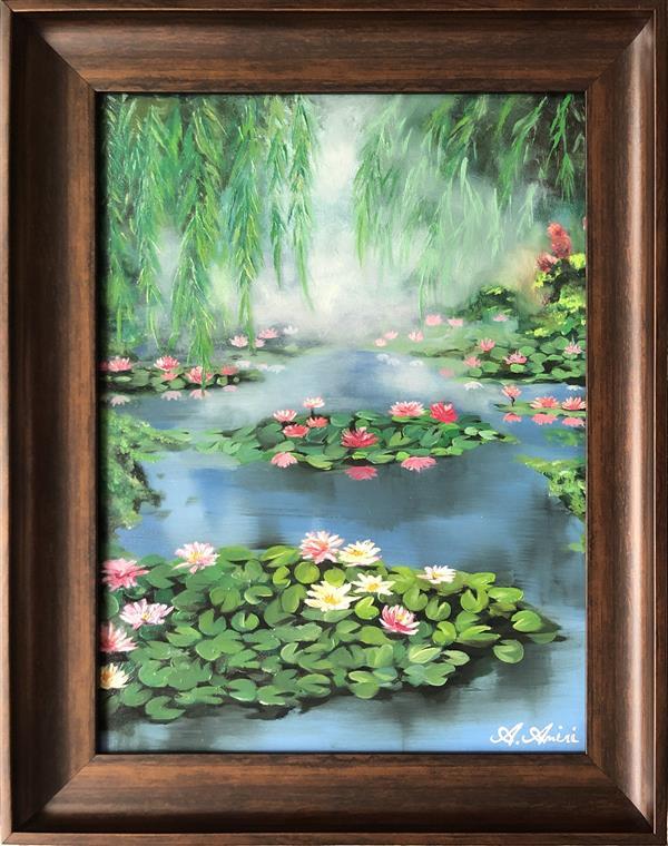 هنر نقاشی و گرافیک محفل نقاشی و گرافیک A Amiri #نقاشی #رنگ-روغن ابعاد (بدون قاب) ۴۰*۳۰ سانتی متر عنوان اثر: #گل های # مرداب  منظره ای از گل های #نیلوفر #شناور و #بید #مجنون در Monetgarden# ژاپن
